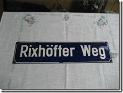 "Straßenschild ""Rixhöfter Weg  aus Ostpreußen"