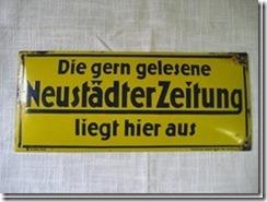 """Werbeschild """"Neustädter Zeitung"""" aus Schlesien"""