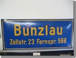 """Emailleschild """"Bunzlau"""" aus Schlesien"""